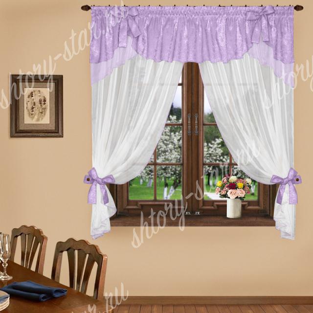 современные комбинированные шторы для кухни