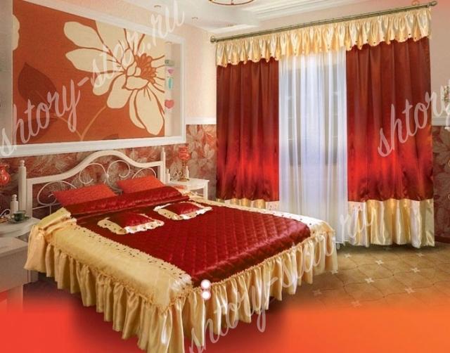 комплект штор и покрывала для спальни мария