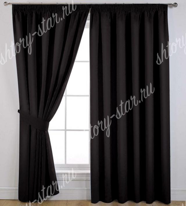 черные шторы хлопковые