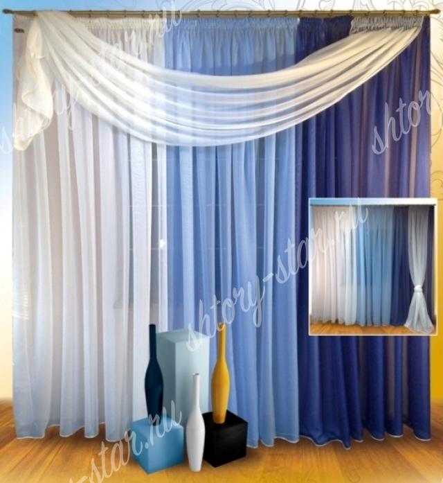 синие тюлевые шторы по акции