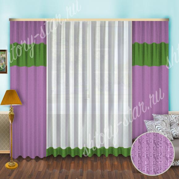 комплект шторы с тюлем фиолетового цвета