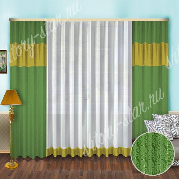 зеленые шторы в комплекте с тюлем
