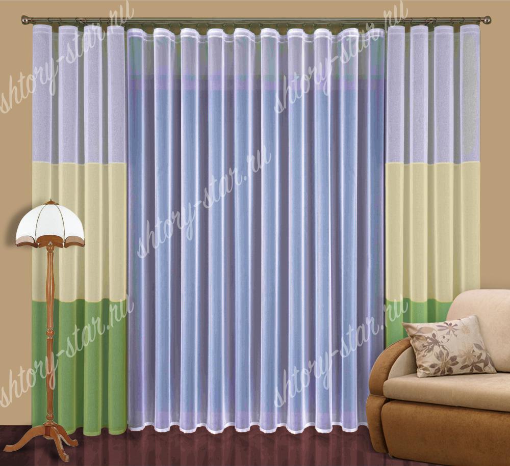 кухонные шторы из разноцветного тюля радуга