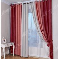 Недорогие комбинированные шторы на люверсах из плотной ткани