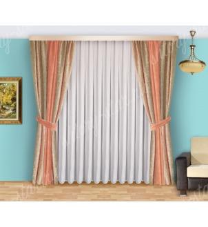 Шторы для спальни из плотной портьерной ткани с тюлем арт Виктория - 2 Цена 2400 рублей