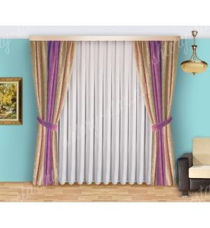 Шторы для спальни из плотной портьерной ткани с тюлем арт Виктория - 3 Цена 2400 рублей