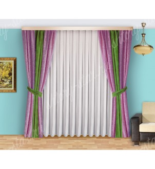 Шторы для спальни из плотной портьерной ткани с тюлем арт Виктория - 5 Цена 2400 рублей