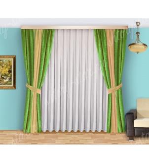 Шторы для спальни из плотной портьерной ткани с тюлем арт Виктория - 6 Цена 2400 рублей