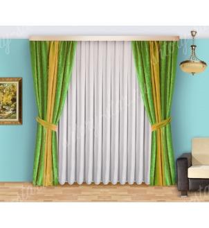 Шторы для спальни из плотной портьерной ткани с тюлем арт Виктория - 7 Цена 2400 рублей