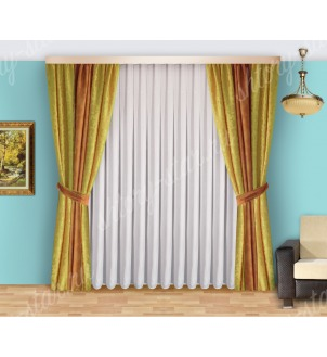 Шторы для спальни из плотной портьерной ткани с тюлем арт Виктория - 11 Цена 2400 рублей