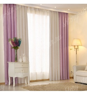 Комбинированные шторы блэкаут цвета сиреневый и серый арт - 1. Цена 2900 руб. Тюль оплачивается отдельно.