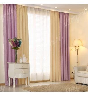 Комбинированные шторы блэкаут цвета молочный и сиреневый арт - 2. Цена 2900 руб. Тюль оплачивается отдельно.