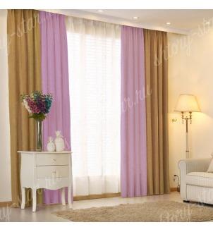 Комбинированные шторы блэкаут цвета горчичный и сиреневый арт - 3. Цена 2900 руб. Тюль оплачивается отдельно.