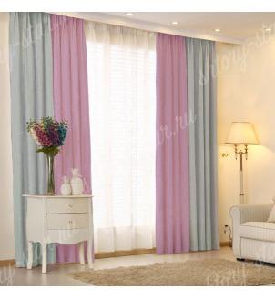 Комбинированные шторы блэкаут цвета голубой и сиреневый арт - 14. Цена 2900 руб. Тюль оплачивается отдельно.