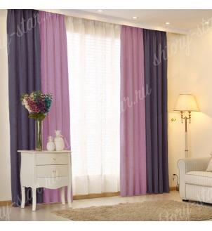 Комбинированные шторы блэкаут из двух цветов для гостиной и зала арт - БКШ - 4. Цена 3500 руб. Тюль оплачивается отдельно.
