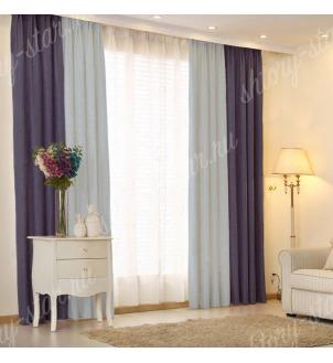 Комбинированные шторы блэкаут цвета синий и голубой арт - 15. Цена 2900 руб. Тюль оплачивается отдельно.