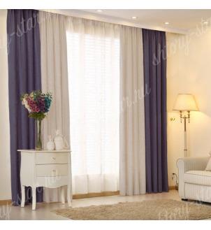 Комбинированные шторы блэкаут цвета синий и серый арт - 16. Цена 2900 руб. Тюль оплачивается отдельно.