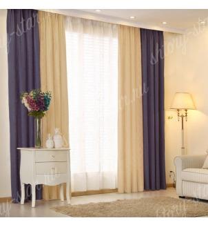 Комбинированные шторы блэкаут цвета синий и кофейный арт - 5. Цена 2900 руб. Тюль оплачивается отдельно.