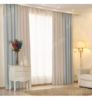 Комбинированные шторы блэкаут цвета голубой и серый арт - 18. Цена 2900 руб. Тюль оплачивается отдельно.