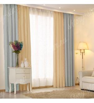 Комбинированные шторы блэкаут цвета голубой и кофейный арт - 19. Цена 2900 руб. Тюль оплачивается отдельно.