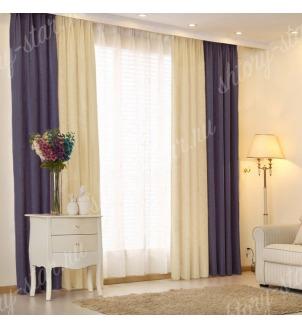 Комбинированные шторы блэкаут цвета синий и молочный арт - 6. Цена 2900 руб. Тюль оплачивается отдельно.