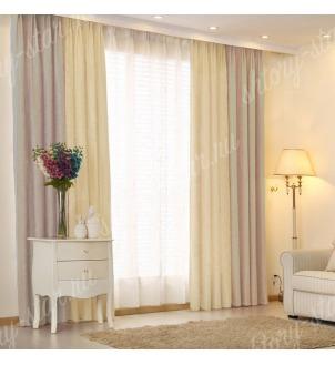 Комбинированные шторы блэкаут цвета серый и молочный арт - 7. Цена 2900 руб. Тюль оплачивается отдельно.