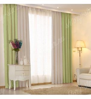 Комбинированные шторы блэкаут цвета зеленый и серый арт - 20. Цена 2900 руб. Тюль оплачивается отдельно.