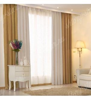 Комбинированные шторы блэкаут цвета горчичный и серый арт - 23. Цена 2900 руб. Тюль оплачивается отдельно.