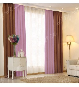 Комбинированные шторы блэкаут цвета шоколадный и сиреневый арт - 12. Цена 2900 руб. Тюль оплачивается отдельно.