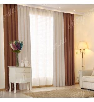Комбинированные шторы блэкаут цвета шоколадный и серый арт - 24. Цена 2900 руб. Тюль оплачивается отдельно.