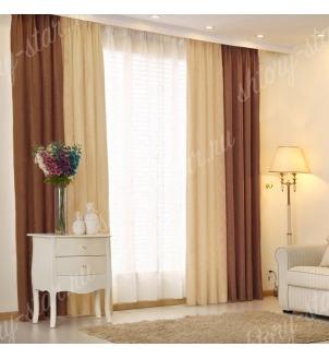 Комбинированные шторы блэкаут цвета шоколадный и молочный арт - 13. Цена 2900 руб. Тюль оплачивается отдельно.